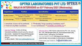 M.Sc Candidates Job Vacancy For Trainee/ Jr. Chemist / Chemist/ Sr.Chemist/ Jr. Executive in Optrix Laboratories Pvt Ltd Walk-in Interviews on 03rd February 2021