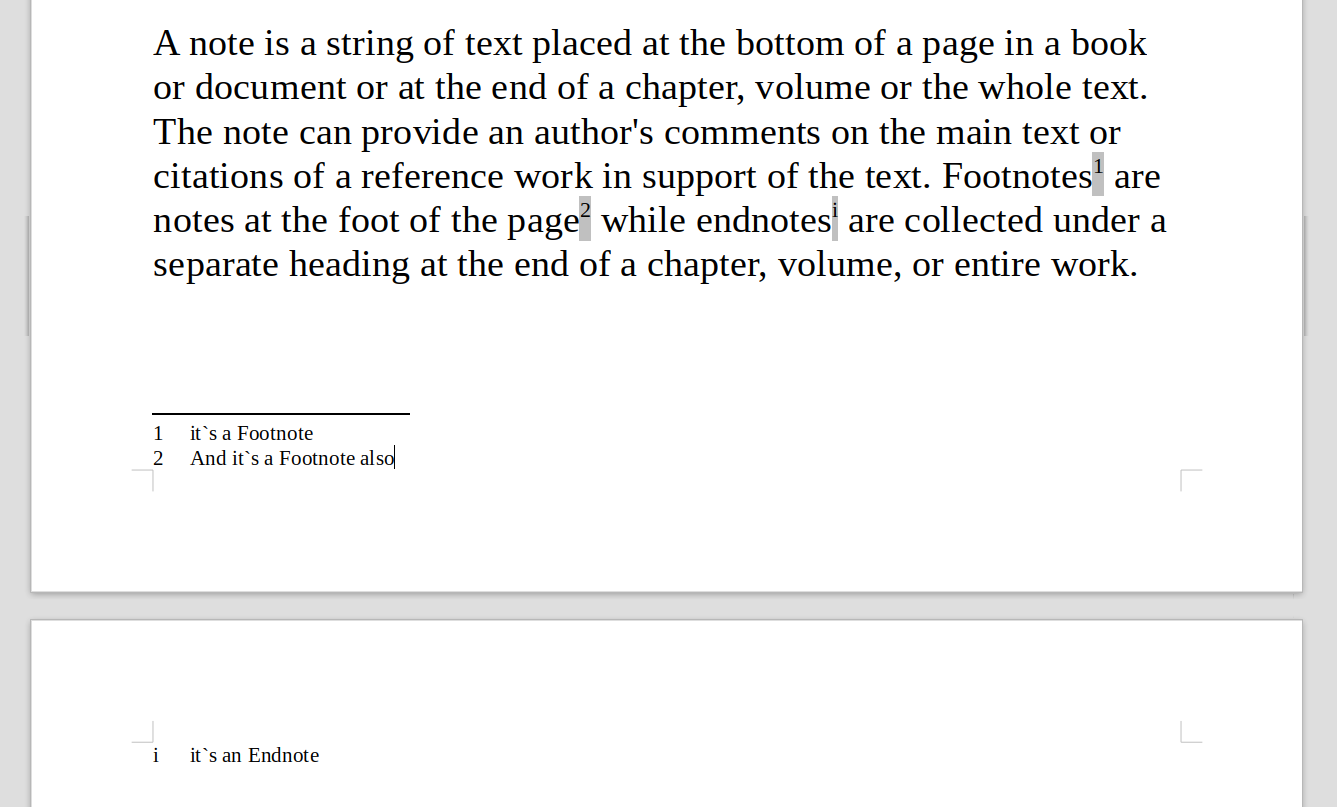 LibreOffice Information: Footnotes and Endnotes in LibreOffice Writer