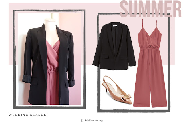 How To Style Aritzia Wilfred Melodie Jumpsuit in Apple Butter in Different Ways Summer Wedding Season. H&M Straight Cut Jacket. Cole Haan Premium Tali Bow Slingback Pumps