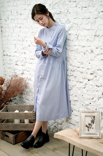 溫室寫作 雨天排釦洋裝