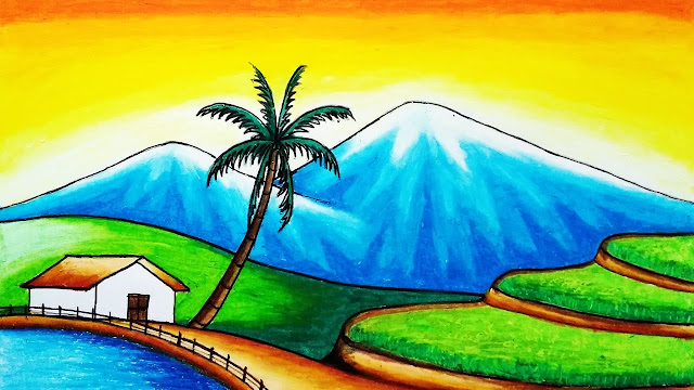 gambar pemandangan gunung dan sawah