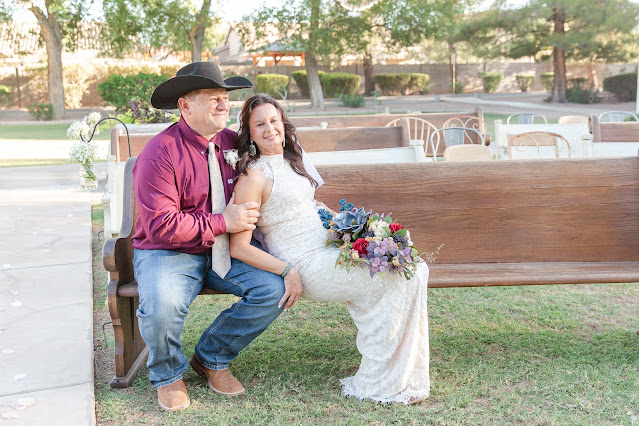 Bride and Groom Photos on Church Pews at Shenandoah Mill in Gilbert AZ