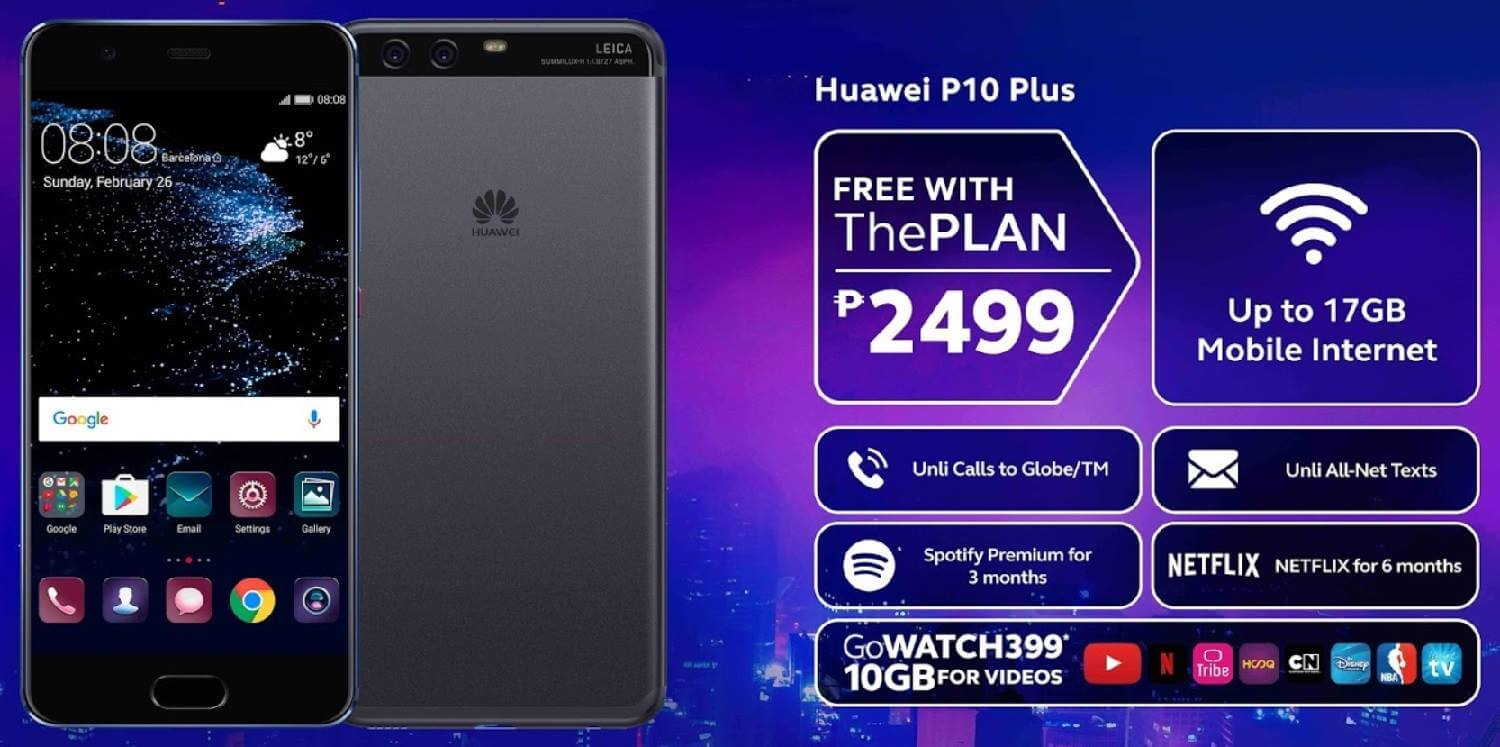 Huawei P10 Plus Now Free at Globe ThePLAN 2499
