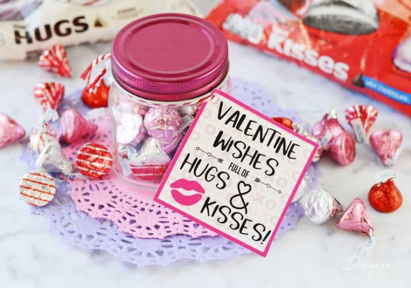 These hugs and kisses valentines make a perfect homemade gift for anyone
