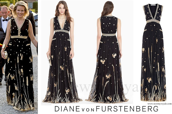 Queen Mathilde wore DVF Diane von Furstenberg Vivanette Embroidered Tulle Goddess Gown