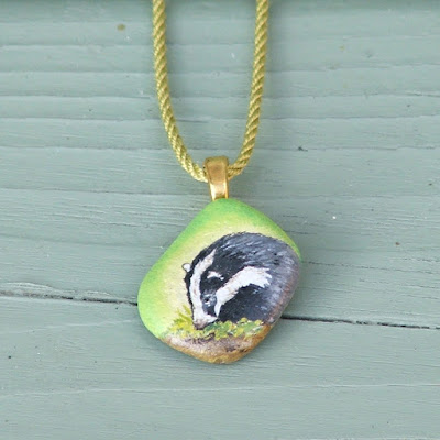 Hand painted badger pendant