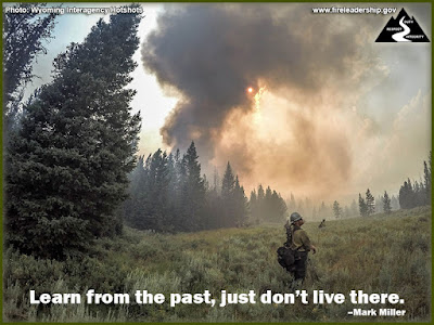 Learn from the past, just don't live there. –Mark Miller (Firefighter at edge of the forest with smoke in the background)