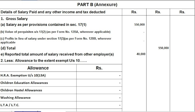 Download and Prepare at a time your Income Tax Computed Sheet + Automated H.R.A. Calculation U/s 10(13A) + Automated Income Tax Form 16 Part A&B in Revised Format + Automated Revised Form 16 Part B + Automated Income Tax Form 12 BA for the F.Y. 2020-21 In Excel All in One for only Non-Govt Employees for F.Y. 2020-21 With Old & New Tax Regime as per Budget 2020