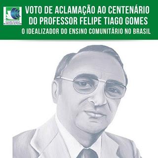 Felipe Tiago Gomes é homenageado pelo Conselho Estadual de Educação da Paraíba