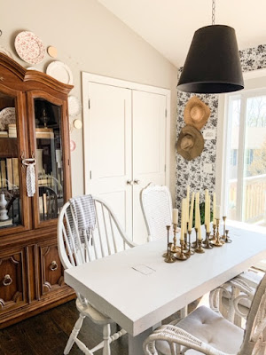 faux lamp shade in dining room