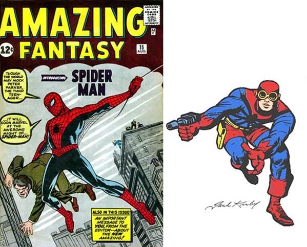 Diseños de Spiderman de Steve Ditko y de Jack Kirby