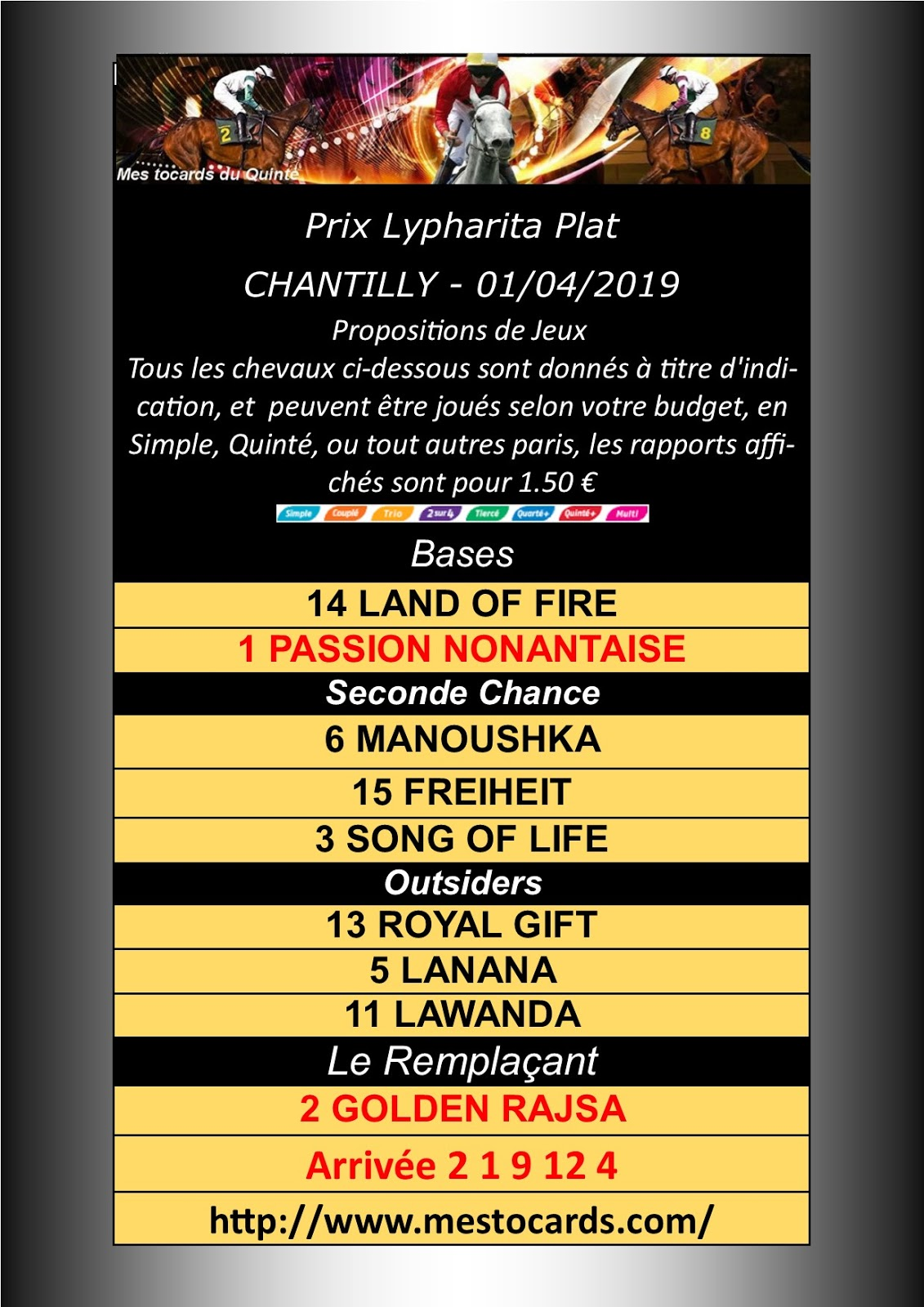 Quinté Prix Lypharita Plat - CHANTILLY - 01/04/2019 Mestocards