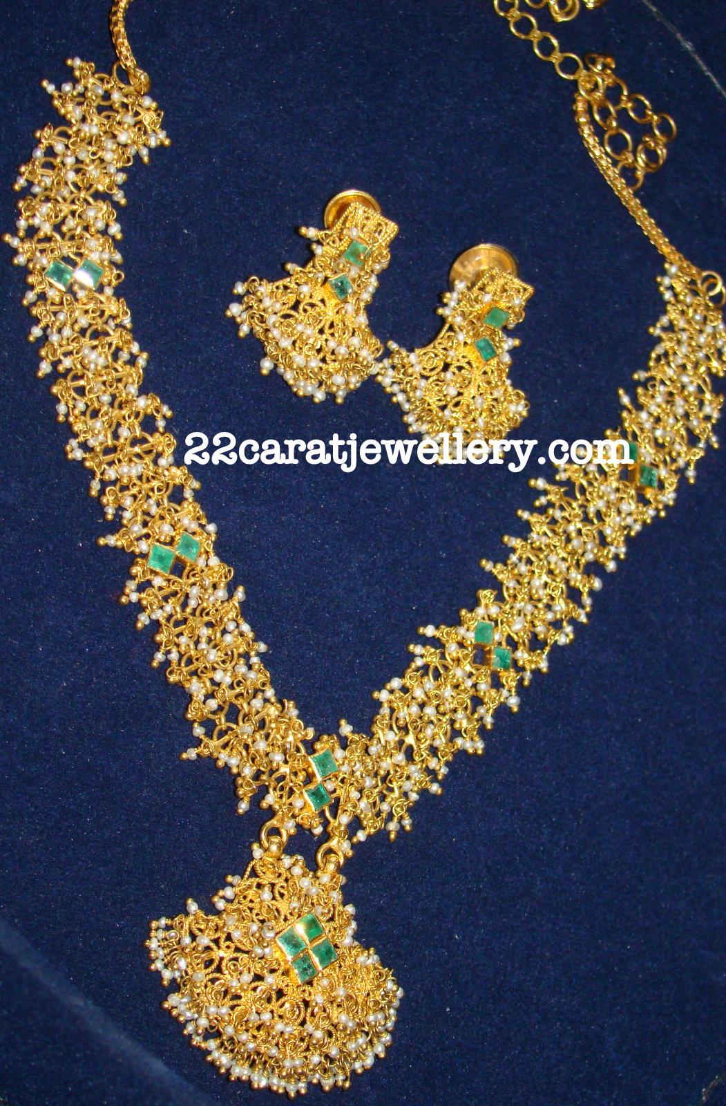 My Basara Pearls Kundan Necklace Set Jewellery Designs