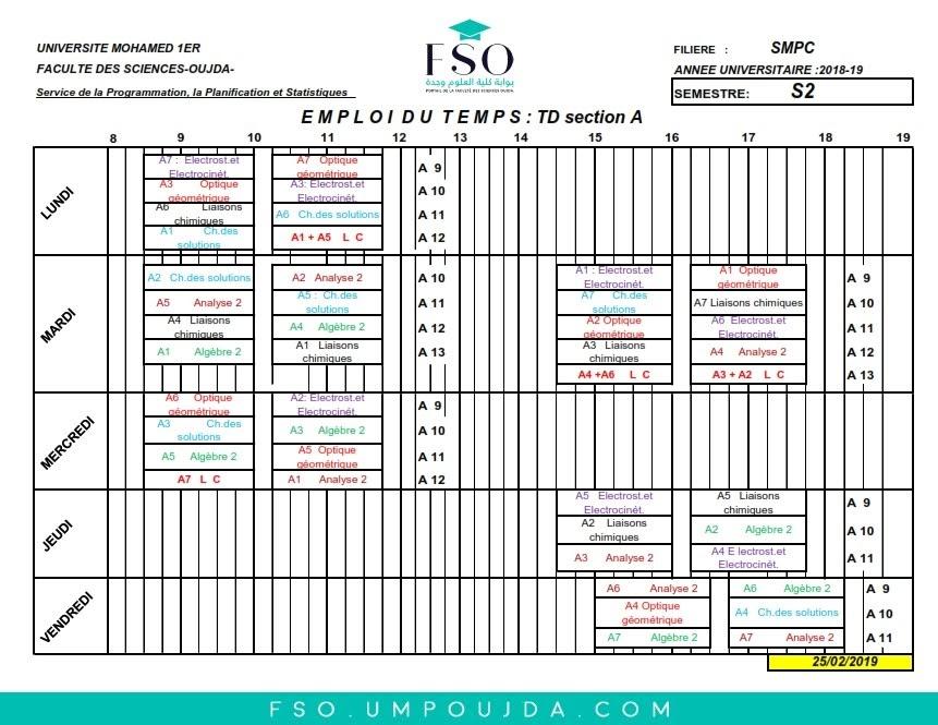 Emplois du Temps des TDs SMPC S2 Section A - Session Printemps 2018/2019