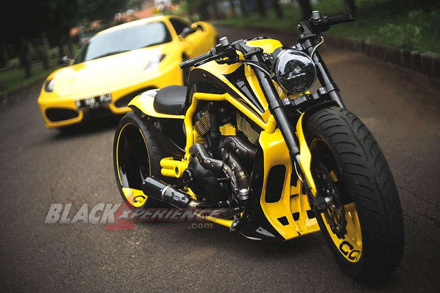 Modifikasi Motor Harley Kuning-Hitam