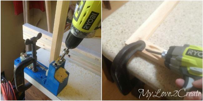 MyLove2Create, Cubby Shelf Revamp, drilling pocket holes