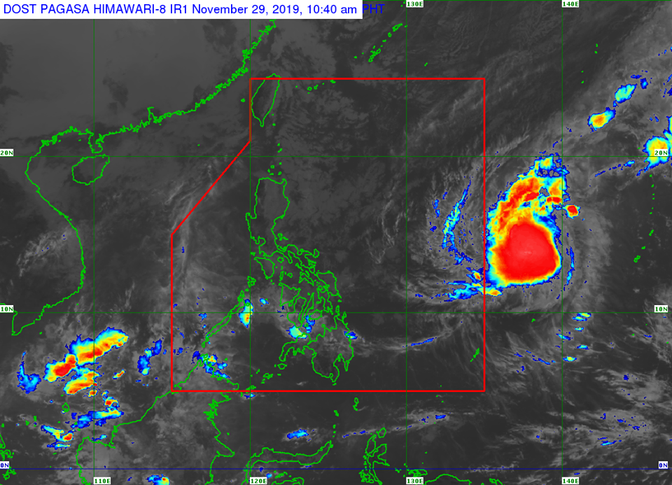 Satellite image of Typhoon Kammuri as of Friday, November 29.