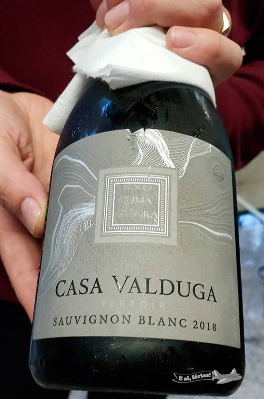 O vinho branco servido durante o tour na Casa Valduga. Muito bom!