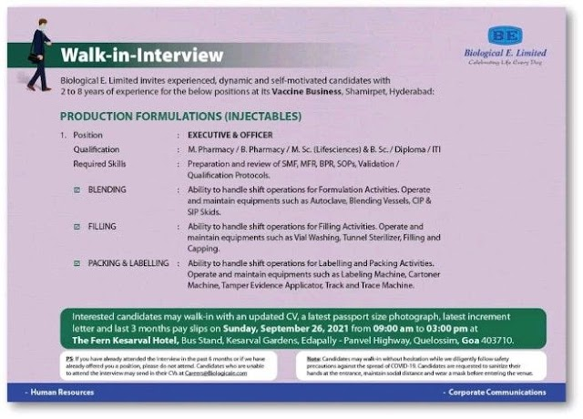 Biological E | Walk-in interview for Production (Injectables) on 26th Sept 2021