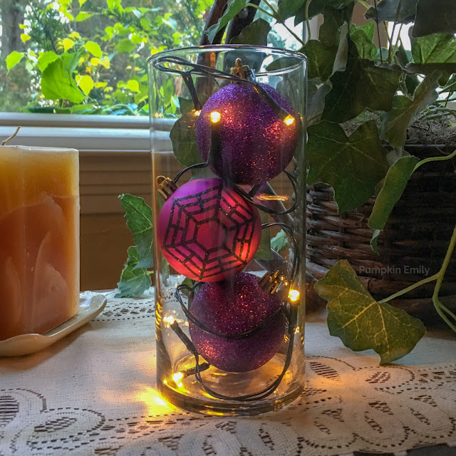 Halloween DIY Vase with Ornaments and String Lights