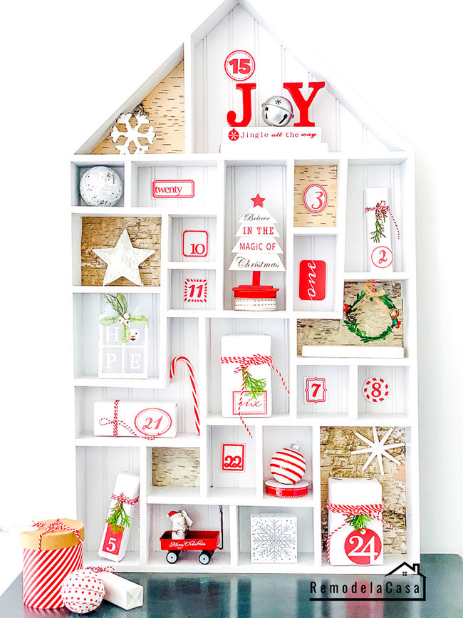 how to build a white and red Christmas House advent calendar