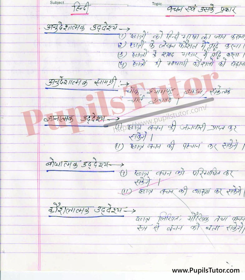 Vachan or Vachan K Prakar Lesson Plan in Hindi for B.Ed First Year - Second Year - DE.LE.D - DED - M.Ed - NIOS - BTC - BSTC - CBSE - NCERT Download PDF for FREE