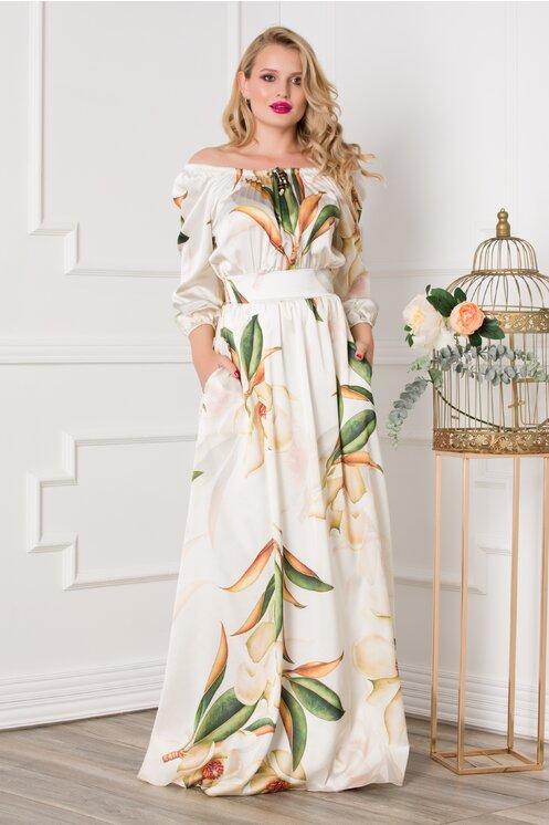 Rochie eleganta din satin lunga ivory cu imprimeuri florale moderne