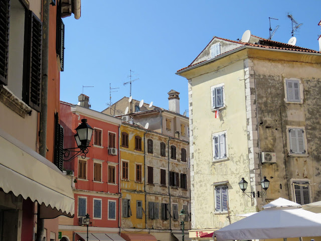 Pastel buildings in Rovinj Old Town