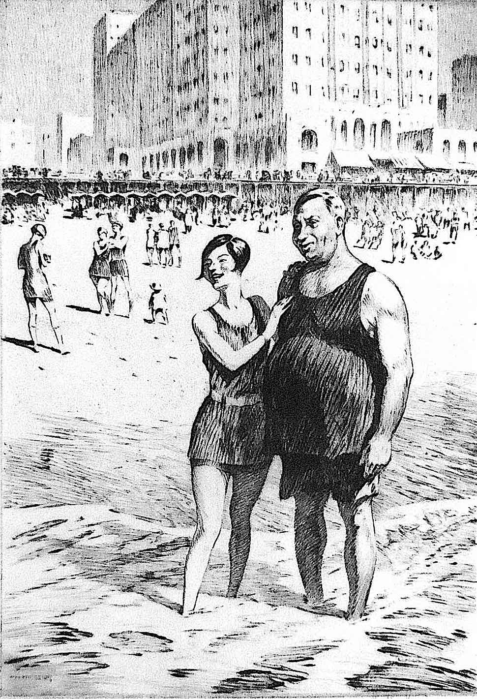 a Martin Lewis 1926 print of people at a beach
