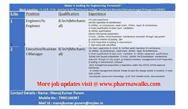 Mylan Laboratories urgent Job openings for Engineering personnel @ Jadcherla Plant