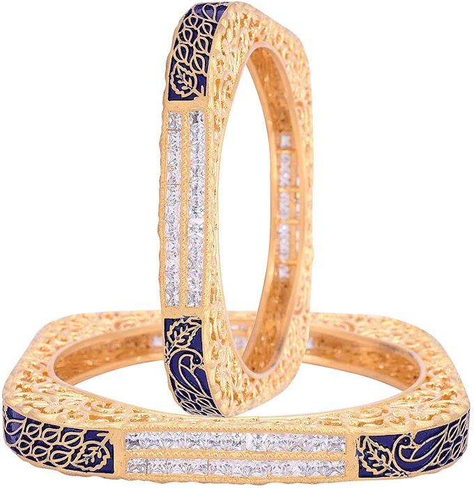Ratnavali jewels American Diamond CZ Studded Gold Plated Blue Meena Enamel Bangles for Women/Girls RV3212B