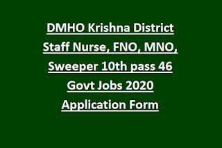 DMHO Krishna District Staff Nurse, FNO, MNO, Sweeper 10th pass 46 Govt Jobs 2020 Application Form