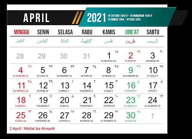Preview Desain Template Kalender 2021 Bulan April