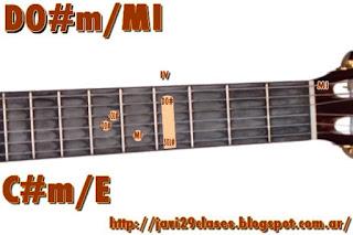 acorde guitarra chord (DO#m con bajo en MI) o (REbm con bajo en MI)