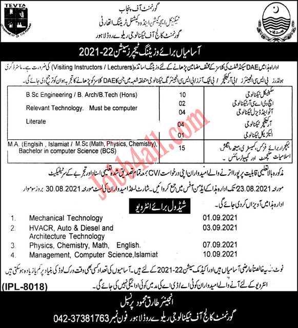 Government College of Technology Tevta Government vacancies 2021 Lahore