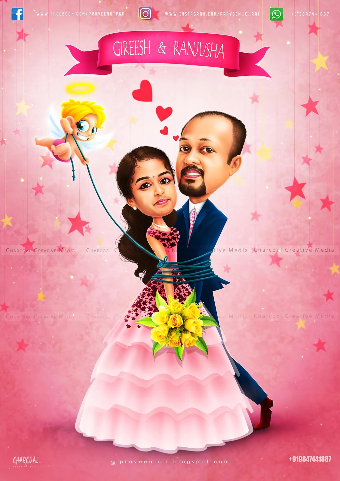 Praveen C R Wedding Caricature Work Invitation Card Design