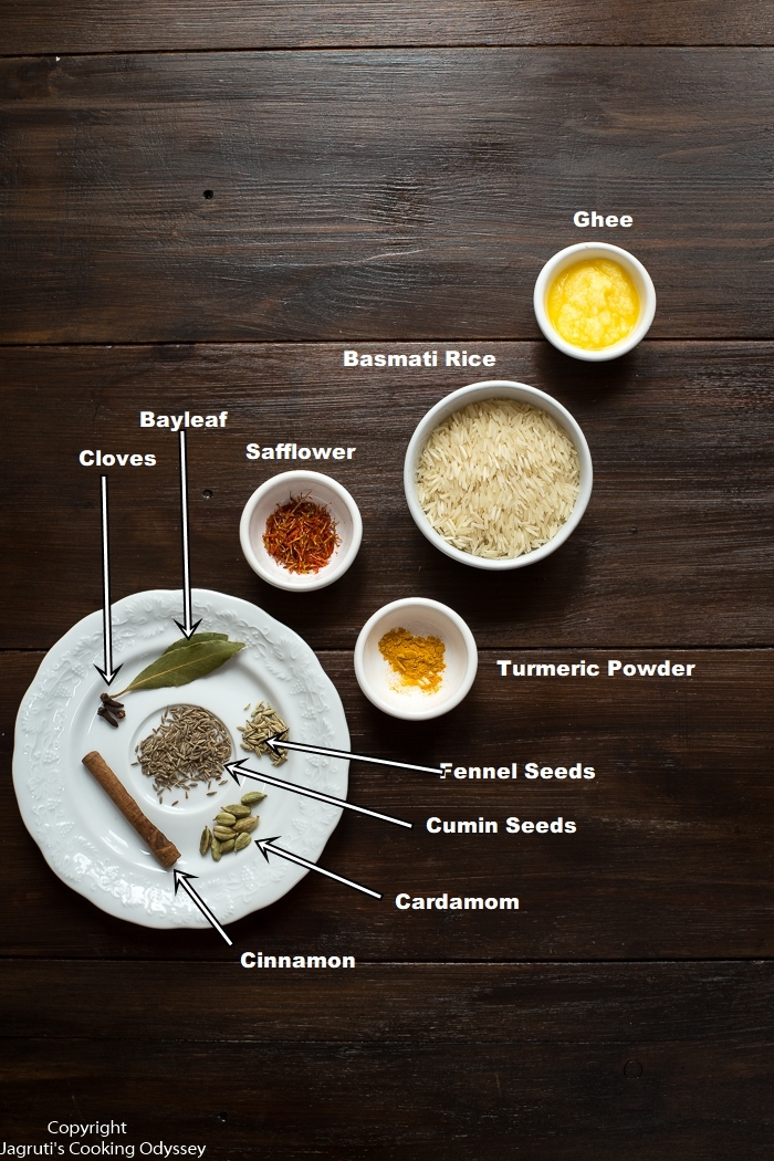 ingredients for pilau rice laid on a dark wooden board