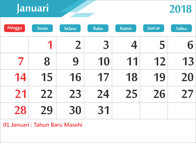 Download Gratis Kalender 2018 Lengkap