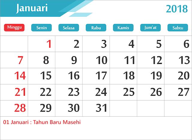 Download Gratis Kalender 2018 Lengkap