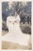 Black & White family wedding photo of Rudy Perrone and Dorothy Killman in New Orleans, Louisiana (ca. 1950s)
