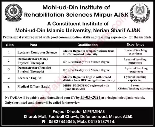 Latest Jobs in Pakistan Mohi Ud Din Institute of Rehabilitation Sciences Mirpur Jobs 2021