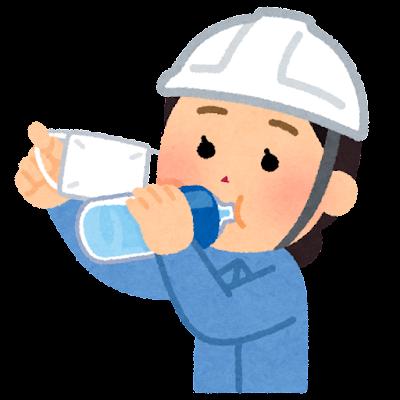 マスクをめくって水分補給をする作業員のイラスト(女性)