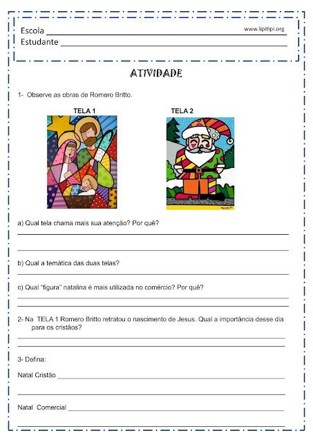 Atividade sobre Natal Cristão e Natal Comercial