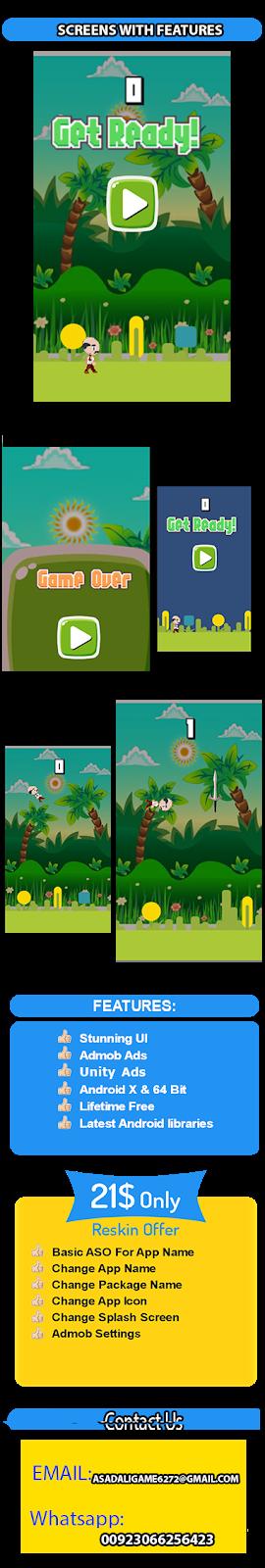 Flappy Bird Like Master jump game(Admob + Unity) - 1
