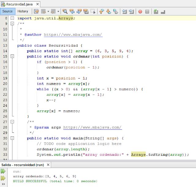 organize an array recursively in java
