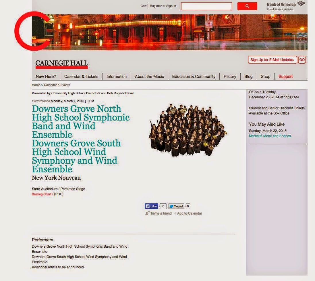 Carnegie Hall Calendar.South High Fine Arts Carnegie Hall Tickets For Sale