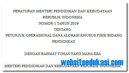Permendikbud Nomor 1 Tahun 2019