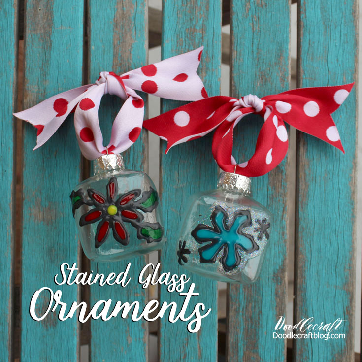 Christmas Stained Glass Ornaments Part - 37: Faux Stained Glass Christmas Ornaments!