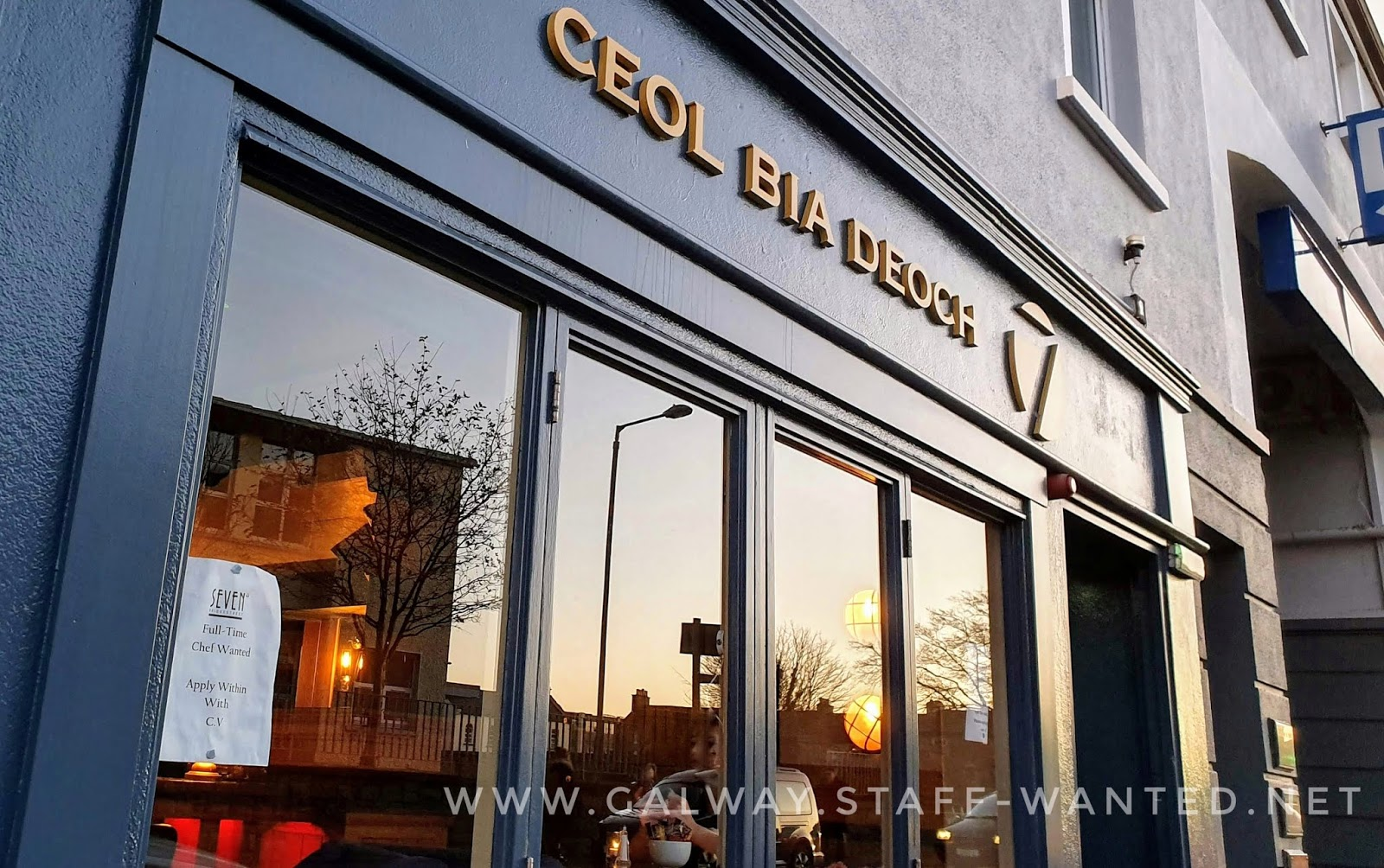 Multi-story primary school building and leafless tree reflected in a large plate glass window at sunset - Irish pub with signs saying ceol, bia,deoch (music, food, dance - modern dance / disco, not traditional)