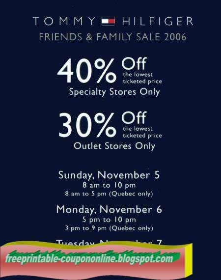 image relating to Tommy Hilfiger Outlet Coupon Printable identified as Tommy hilfiger discount codes united states printable
